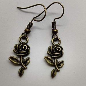 5/$20 Cute bronze rose earrings